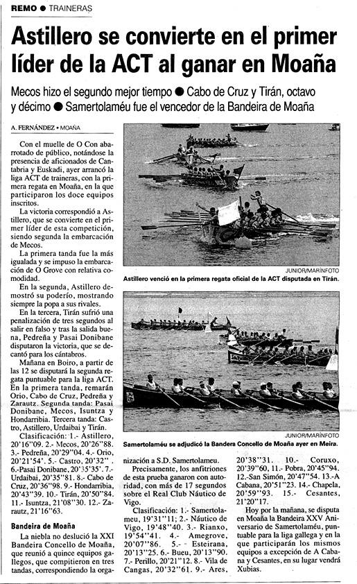 Domingo, 13 de julio de 2003. Diario El Faro de Vigo.