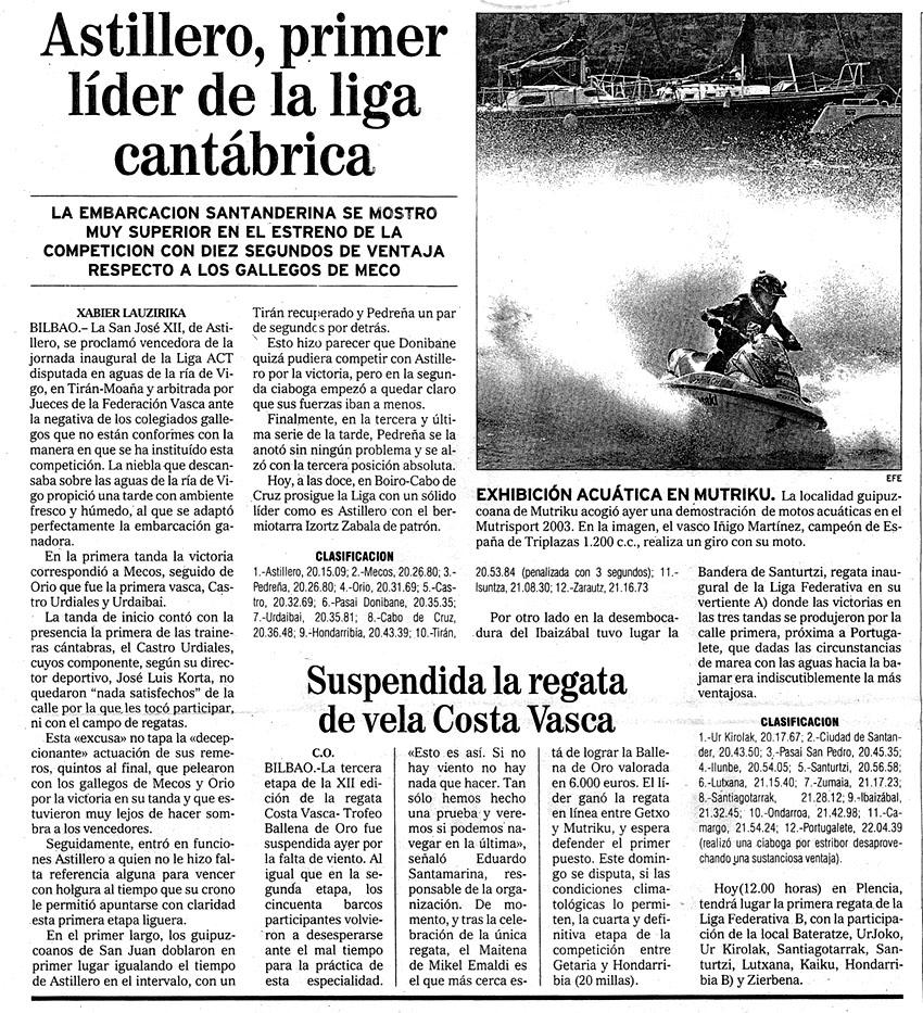 Domingo, 13 de julio de 2003. Diario El Mundo.